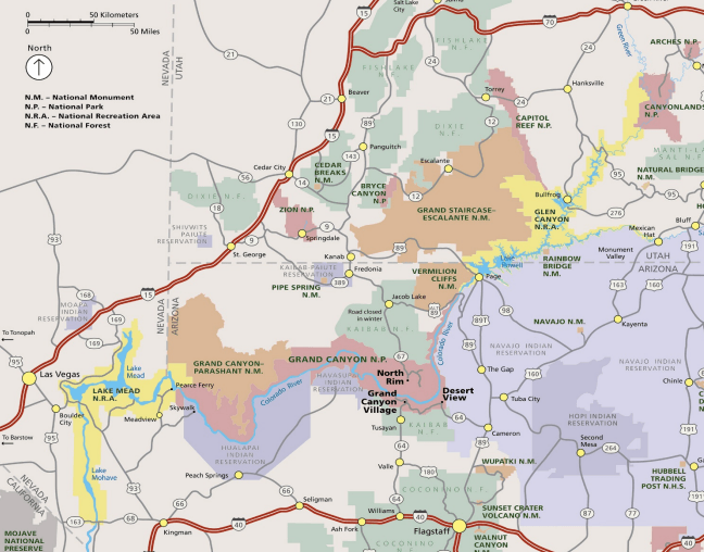 Map of Grand Canyon, Grand Canyon Map