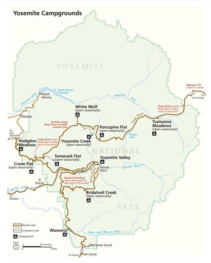 Yosemite Map, Map of Yosemite, Yosemite Park Map
