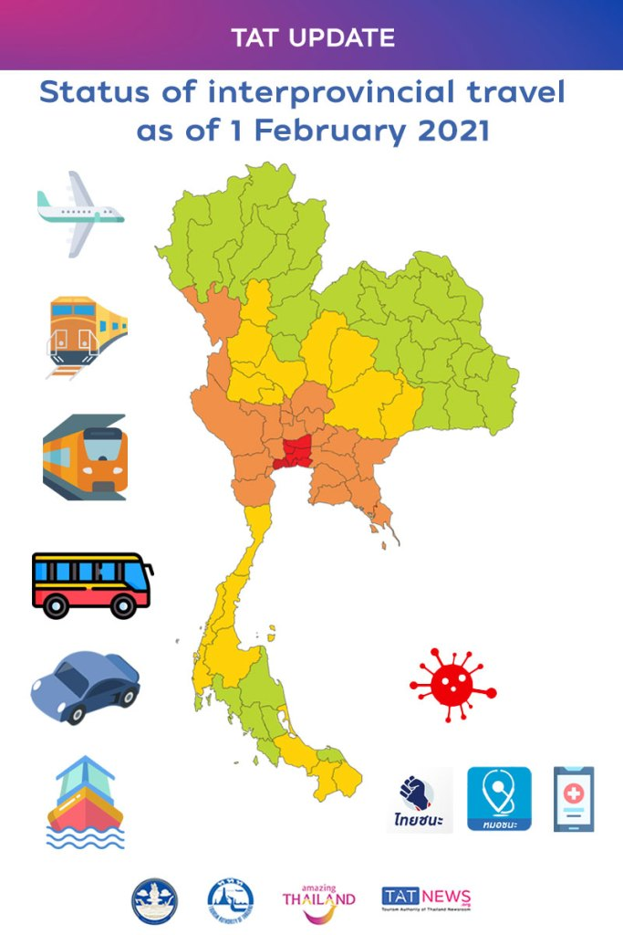 Status of interprovincial travel as Thailand eases COVID-19 controls as of 1 February 2021