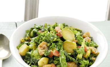 Brussels sprouts with kale, bacon and chestnuts