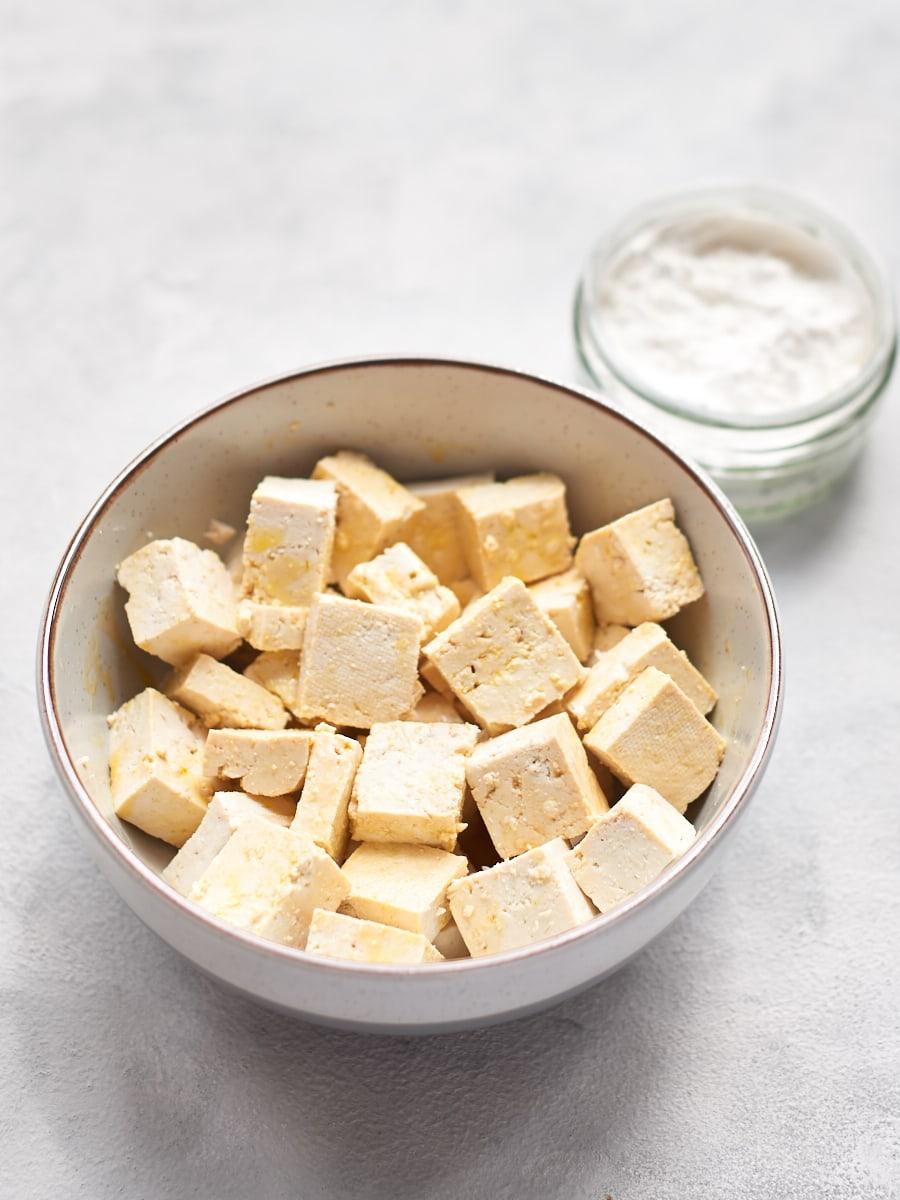 tofu in bowl with cornflour 2