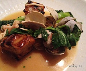 Table's pork belly and clams