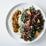 Kale Persimmon Salad with Pecan Yogurt Dressing, a simple salad of red kale with persimmons and pomegranates topped with a pecan and maple yogurt dressing.