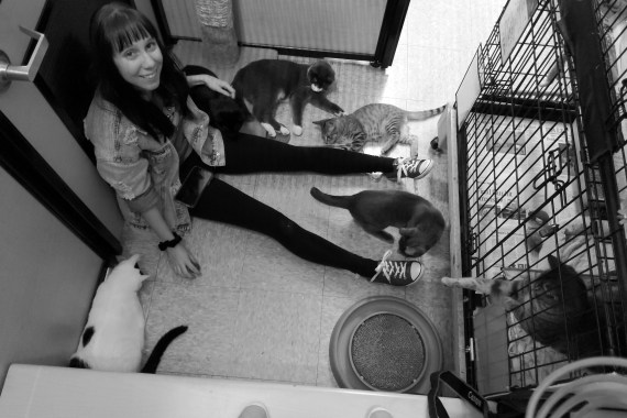 girl at shelter with cats
