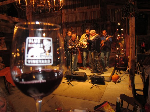 Blinky Moon's toe-tapping music forms the backdrop for some lovely wine tasting at Blue Ridge Vineyard.