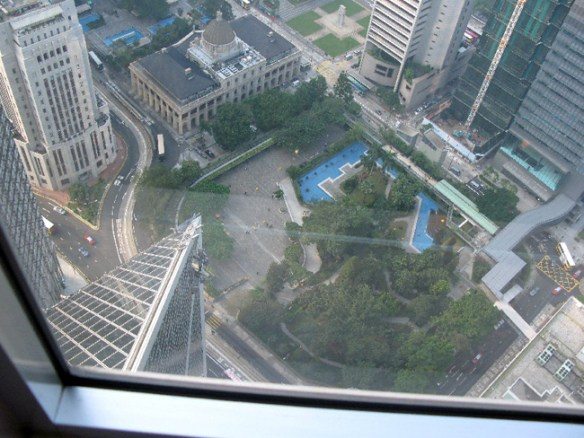 Seen from the top, the point of the arrow on the Bank of China Building points directly at the Colonial Mansion.