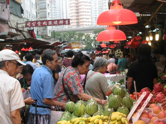 Food markets abound in Hong Kong.
