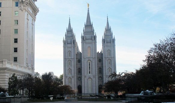 The Temple designed by Brigham Young has a gold statue of the angel Moroni. He appeared to Joseph Smith, founder of the faith.