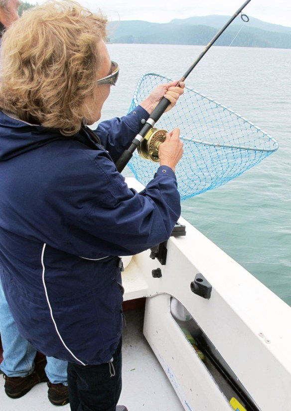 reeling the fish Gone Fishin' Knight Inlet BC
