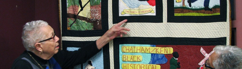 Quilt with underground railroad symbols