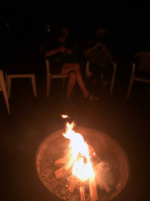 Finding Our Muskoka Soul - the firepit and blazing logs