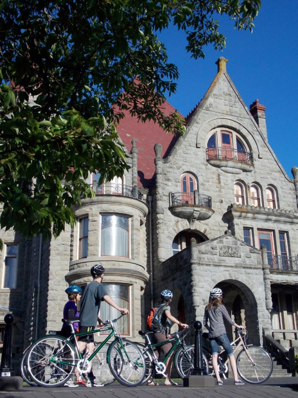 bikes stopped to see Craigdarroch Castle - Bikes and Brews - Victoria, BC