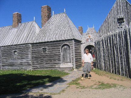 fortress with young costumed interpreter. Acadian Rappie Pie