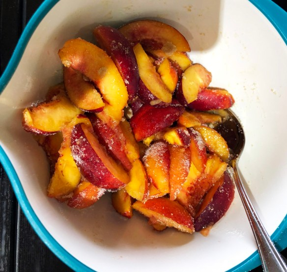 nectarines cut for pie