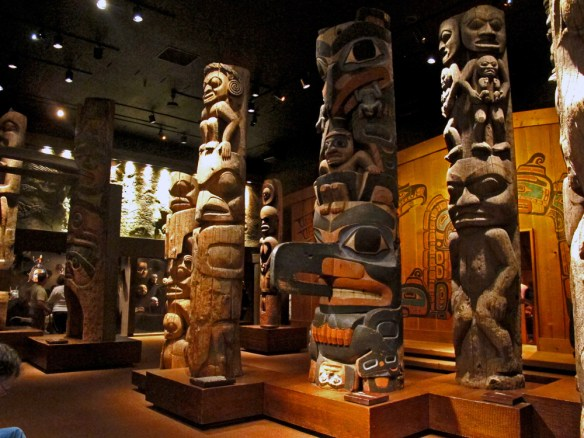 Totem poles inside the museum -Bikes and Brews - Victoria, BC