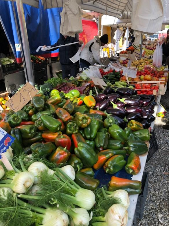 fresh vegetables in market stall