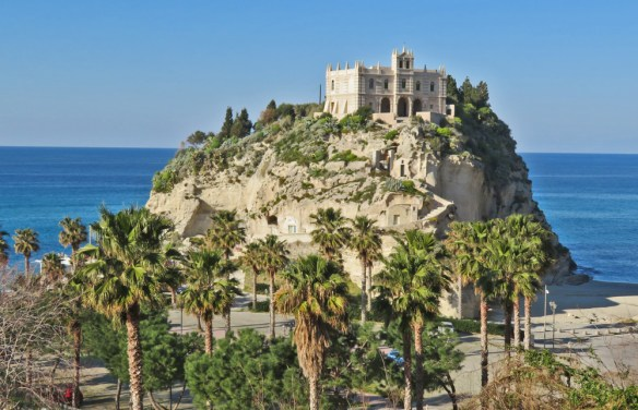 monastery building perched on a hilltop in Tropea