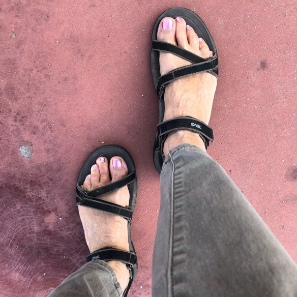 feet with sandals on