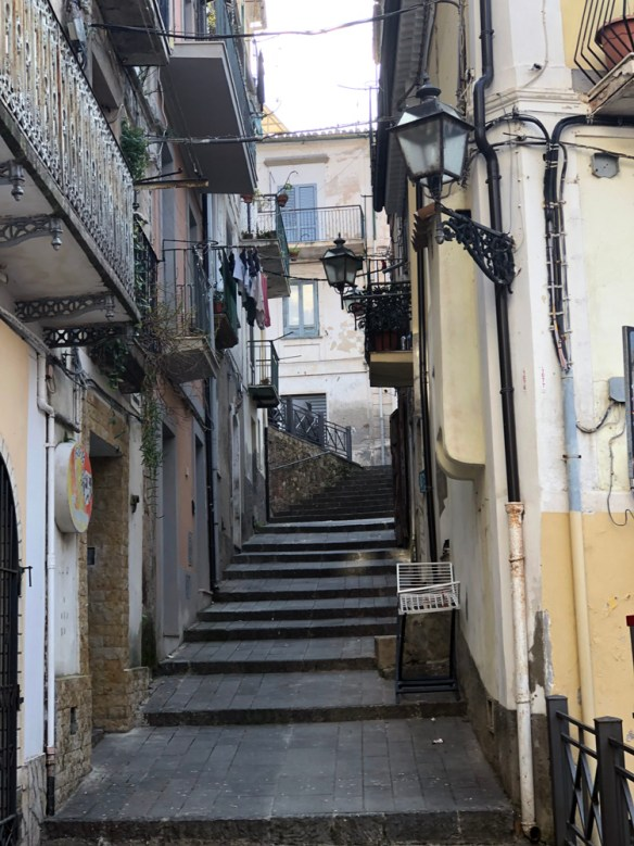 stairs in a narrow alleyway
