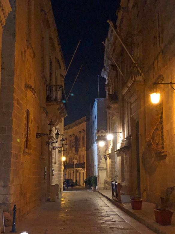 Lantern lit narrow street in Mdina