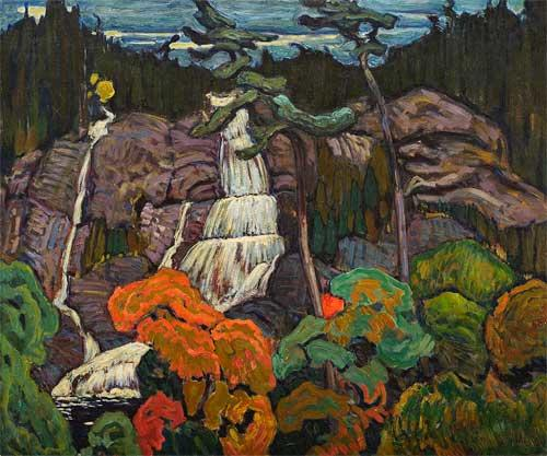 J.E.H. Macdonald's colourful view of Bridal Veil Falls in Autumn with red foliage and purple rocks