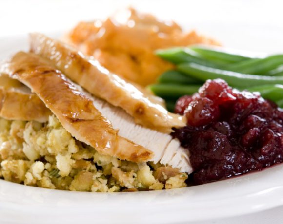 Maple Spiced Turkey Breast, Drunken Cranberry Sauce(!!!), Bacon-Cheddar Stuffing, Browned Butter Sweet Potato Mash, and Homemade Green Bean Casserole