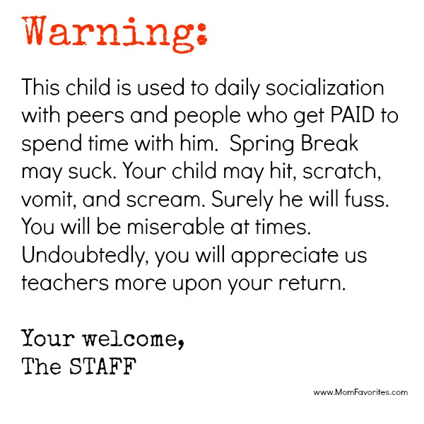 spring break warning