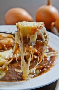 French Onion Soup with Stringy Melted Cheese 500