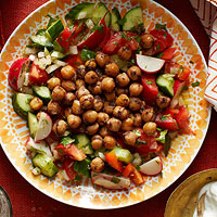 fried chickpea salad