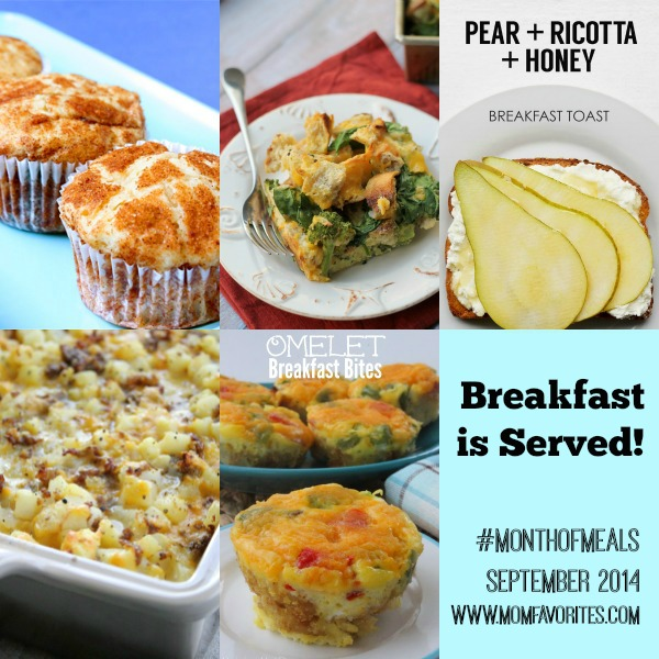 Breakfast Recipe Collection: Month of Meals - www.MomFavorites.com