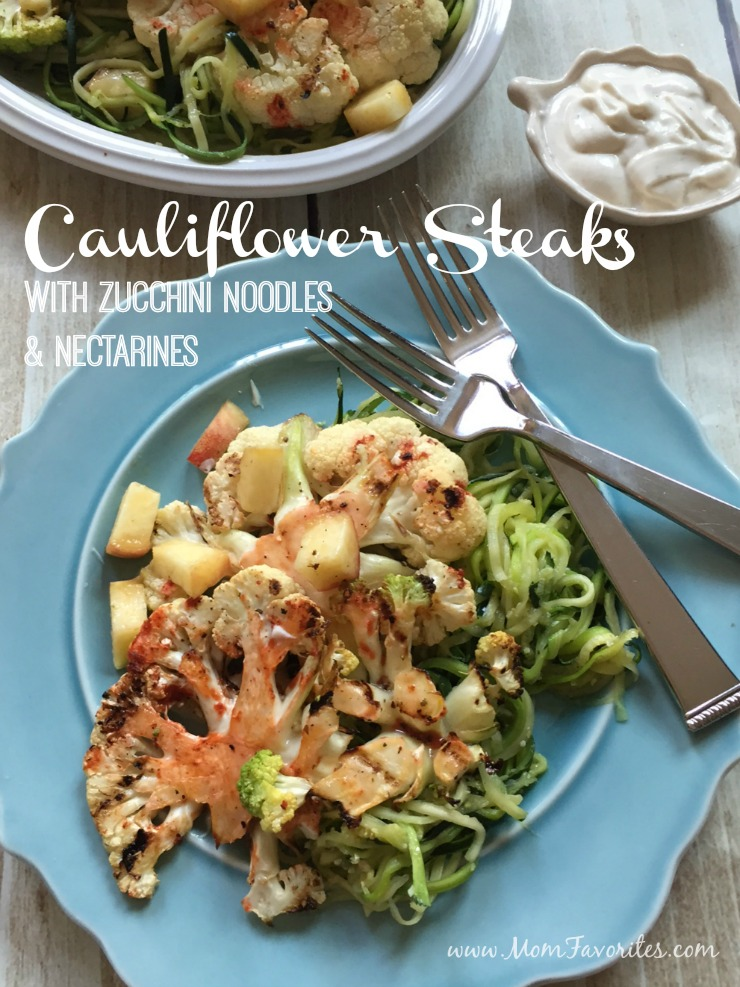 A perfect vegetarian BBQ recipe: Cauliflower Steaks with Zucchini Noodles and Nectarine, with just the right amount of kick!