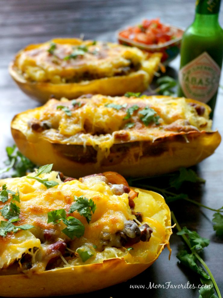Be sure to pin this recipe for Spaghetti Squash Fajita Bowls! It's an easy make-ahead dinner the whole family will love.