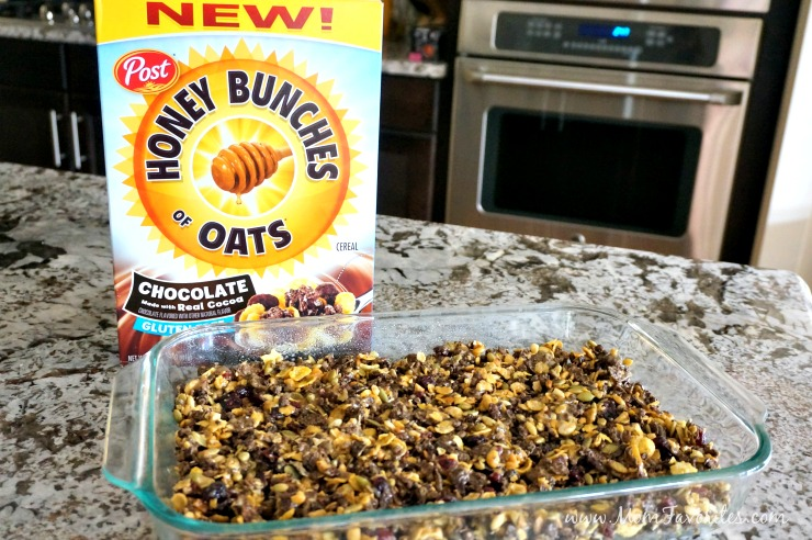 To make this family friendly snack, grease a 9x13 dish.  In a medium sized saucepan, heat coconut sugar and honey over medium heat.  Bring to a gentle boil, then remove from heat and gently stir in peanut butter until well-blended.  Pour mixture over cereal, salted pepitas, and dried cranberries.    Allow to cool until firm, then cut into bars.  Store in air-tight containers for up to three days.