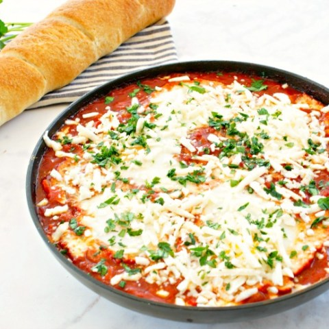 Traditional Israeli Shakshuka (eggs baked in a tomato sauce with peppers and onions) gets a flavor kick with Spanish chorizo! LOVE! You'll be making this Chorizo Shakshuka recipe for breakfast, lunch, and dinner!