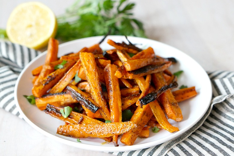 You won't miss regular ol' fries after trying these carrot fries!  Perfectly crunch and full of flavor, these carrot fries also naturally gluten-free and perfect for paleo diets.  Read on to find out what the secret ingredient is!