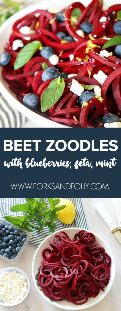 Spiralize raw beets for this stunning Beet Zoodles with Blueberries, Feta and Mint. You'll be eating the rainbow with this beautiful (and slightly messy-to-make) spring dish!