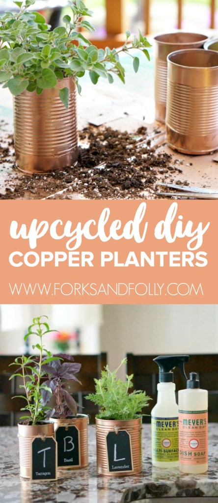 Upcycle aluminum cans and enjoy fresh herbs in your kitchen all year long! With Mrs. Meyers and your favorite herbs, these DIY Copper Herb Planters will be the star of your countertops!