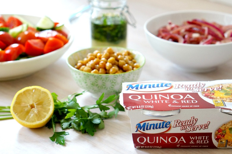 Power through your day with this veggie and protein packedQuinoa and Veggie Mediterranean Lunch Bowl! Dairy-free, vegan, and full of flavor, this easy grain bowl will become a lunch-time favorite!