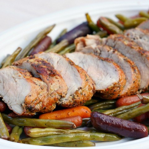 Grilled Pork Tenderloin and Foil Packet Veggies
