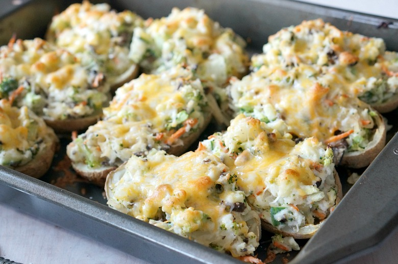 The potatoes at my childhood stomping ground may be the best ever, but these come in at a close second. And they're better for you. These Twice Baked Veggie Stuffed Spuds are loaded with fresh veggies, Greek yogurt and the perfect amount of cheese.