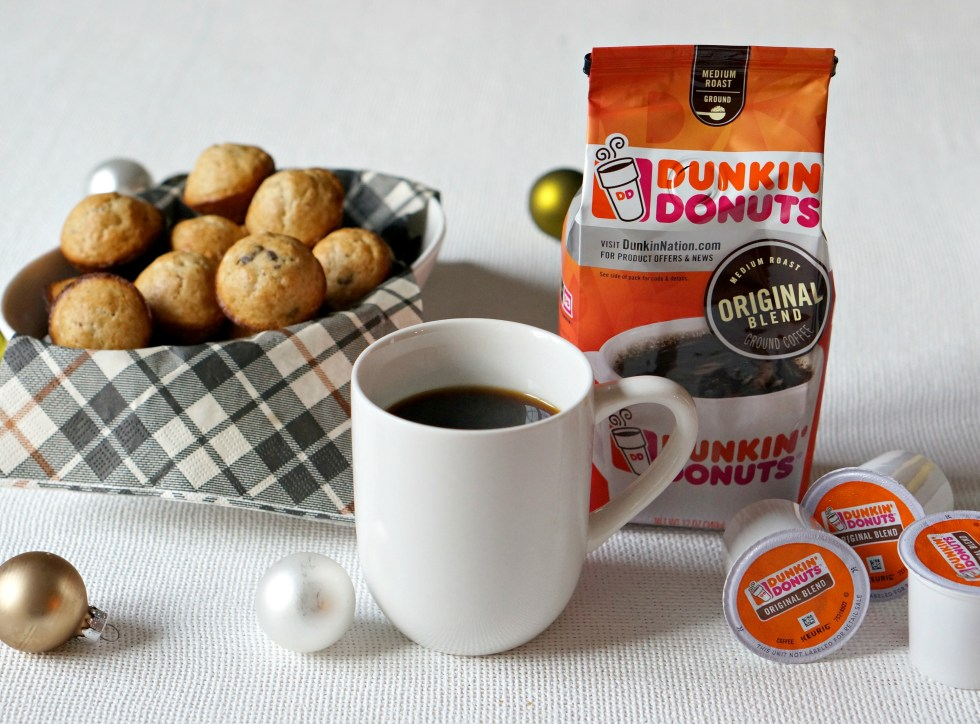 Mini Mocha Chocolate Chip Muffins and a well stocked coffee bar ensure a smooth morning for everyone. Even with guests during the holiday season!