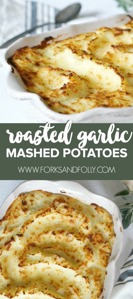 Perfect for the holiday table, these Roasted Garlic Mashed Potatoes taste and look amazing.  A splash of butter and a last minute trip to the broiler will make this mashed potato recipe the star of your holiday table.
