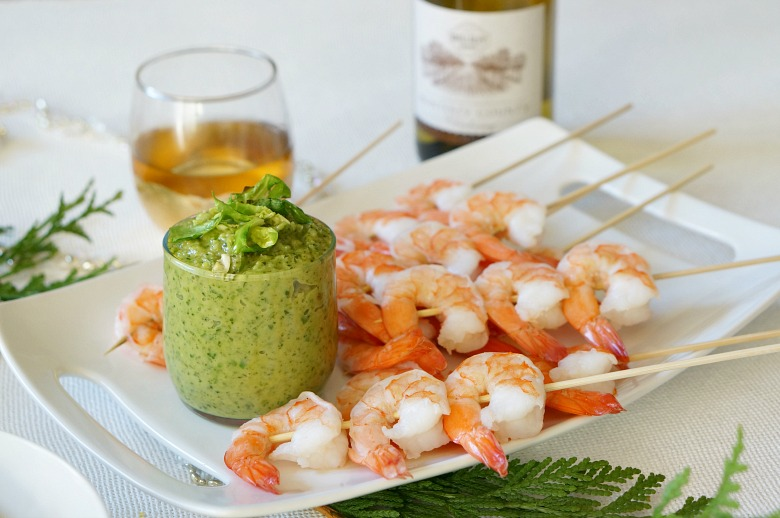 Check out our recipes for the perfect semi-homemade party foods! Guests will love our shrimp cocktail with Brussels Sprout pesto and other fab holiday finger foods!