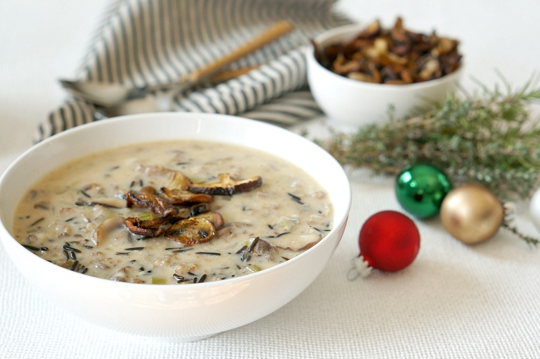 Mushroom and Wild Rice Soup is the hearty dish to serve this holiday season to warm your soul. Buttered mushroom chips and sage sausage elevate this soup.