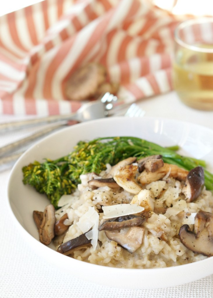 Truffled Mushroom Risotto is the perfect meal to share with your Valentine!  Serve with roasted broccolini and a glass of vino for a romantic fireside date night dinner.