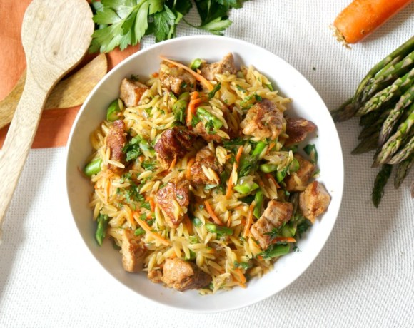 One Pot Pork & Veggie Orzo Toss
