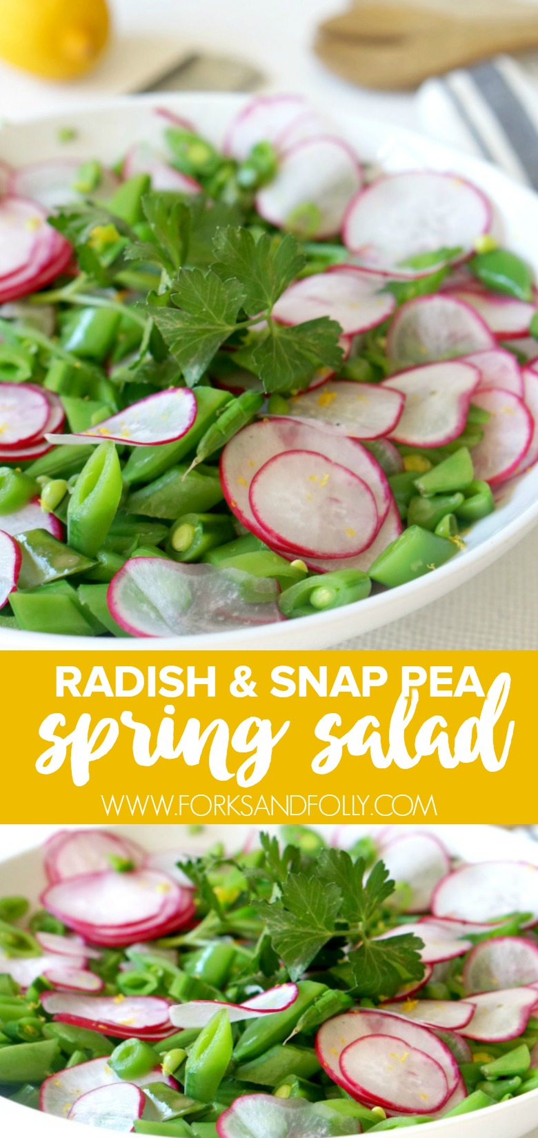 Our Spring Snap Pea Salad with Honey Lemon Vinaigrette is just beautiful. With fresh crunch and vibrant dressing, it's the perfect dish to serve all season long.