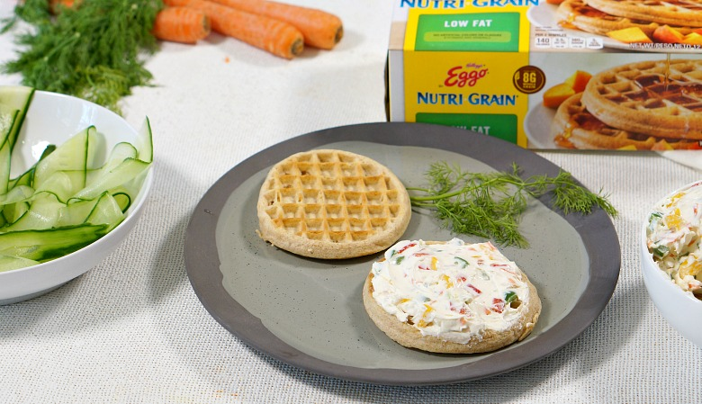 Smoked Salmon Waffles may sound odd at first, but try it and you'll quickly realize why it's a thing!  Whole grain waffles topped with veggie cream cheese and lox is a major win for savory breakfast lovers.  We think waffles just might be the new toast for 2019!