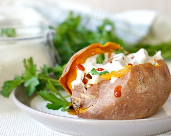 vChicken Stuffed Sweet Potatoes with Creamy Ranch Dressing are Paleo-diet friendly, but are a great way to enjoy comfort food at it's best no matter what diet you're following!