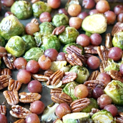 Roasted Brussels Sprouts and Grapes is a sweet and savory side dish perfect for a modern Thanksgiving menu!
